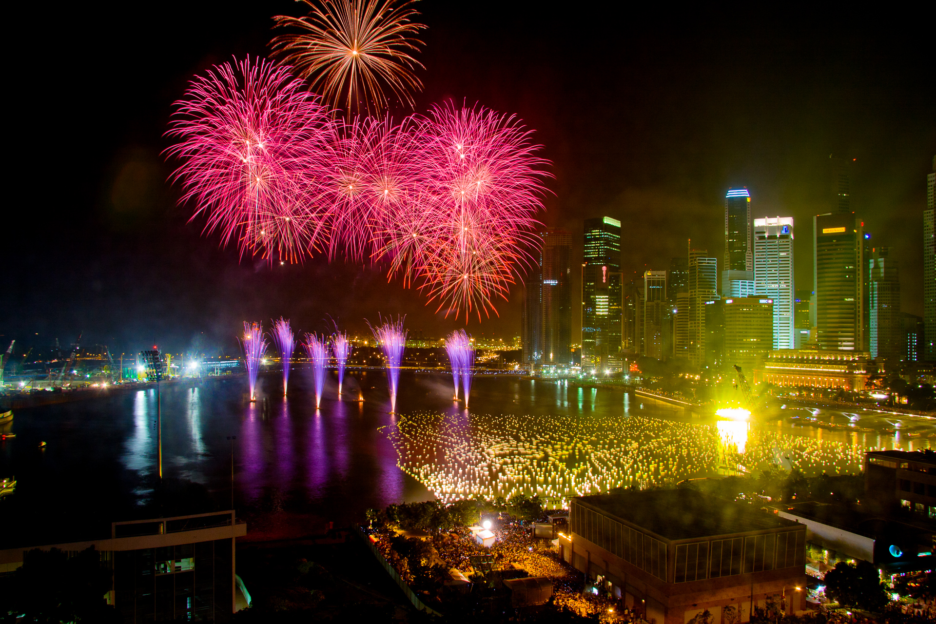 Fireworks at Marina Bay Area