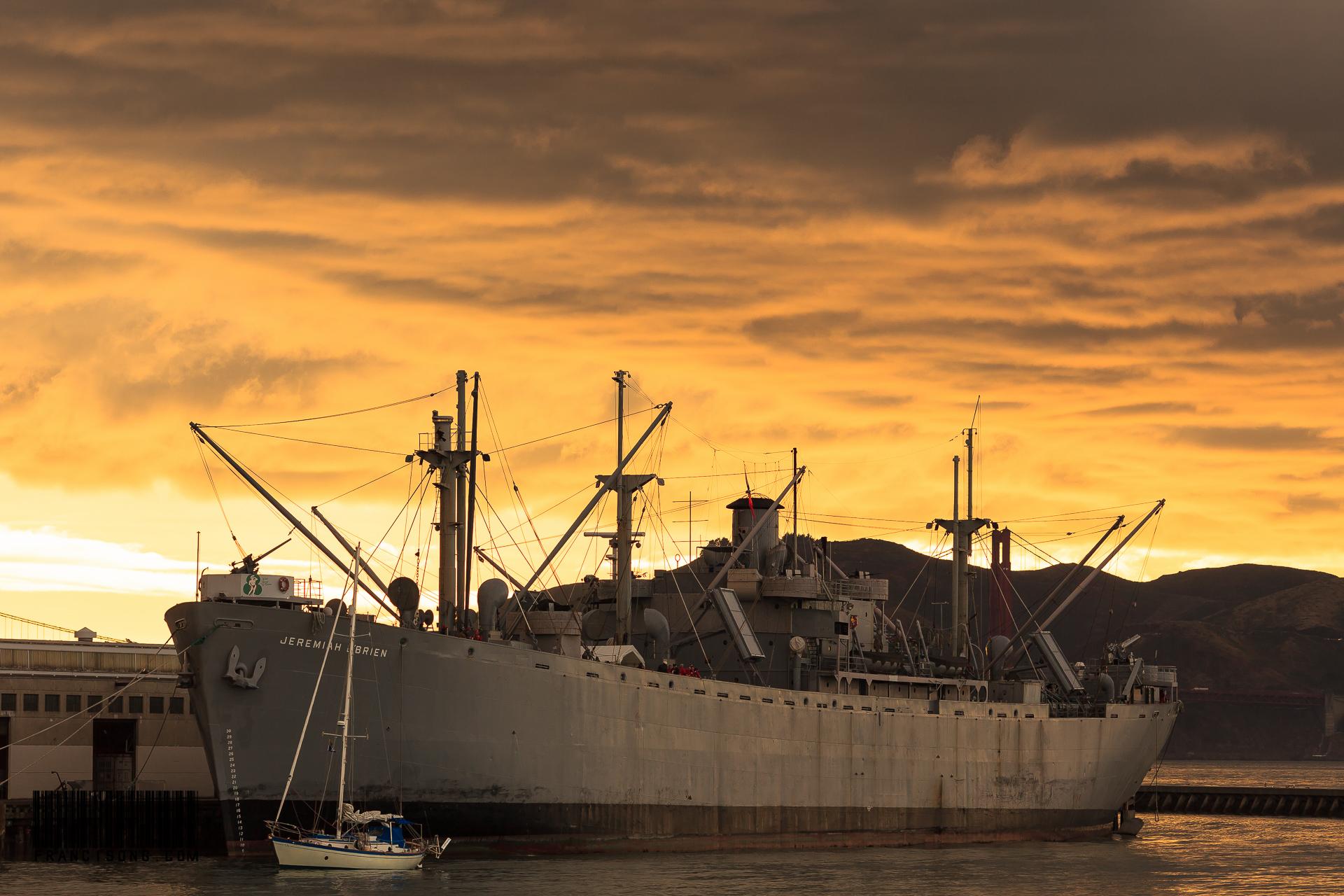 Old war ship docked at Pier 39